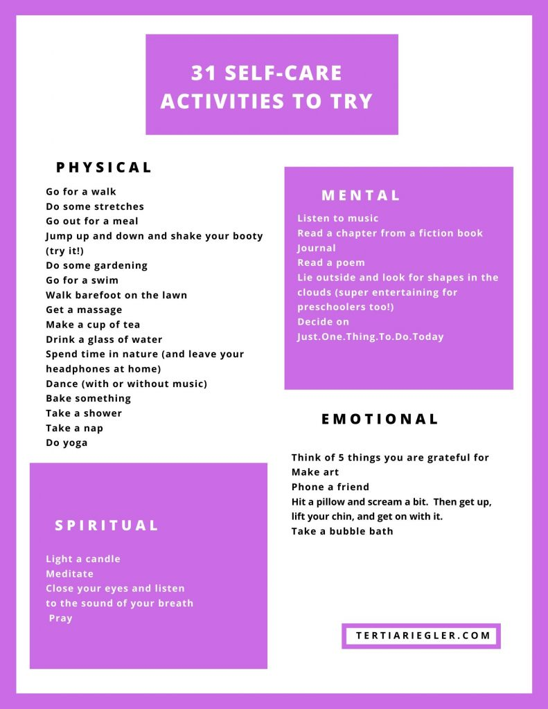 31 Self-care activities to try